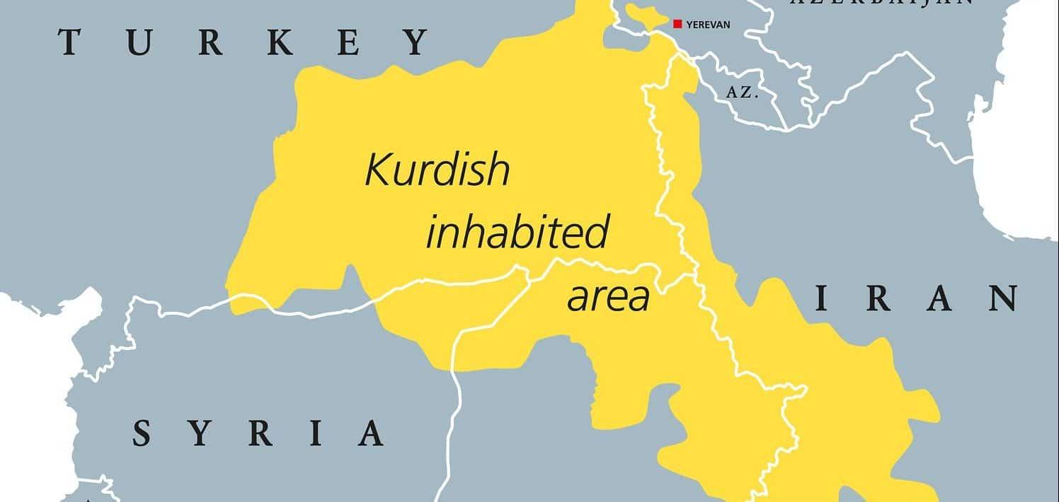Kurdish-inhabited area political map