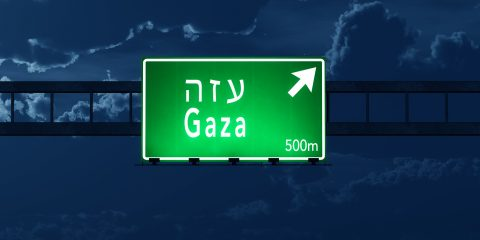 Gaza Israel Highway Road Sign At Night