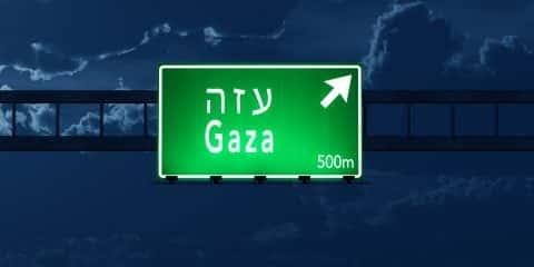 Gaza Israel Highway Road Sign At Night