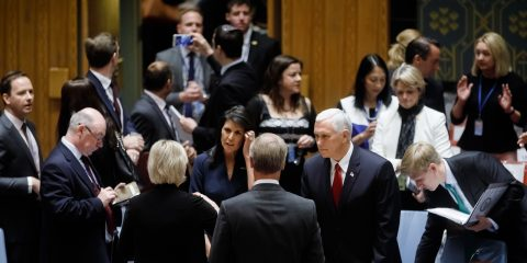 "NEW YORK USA - Sep 20 2017: US Vice President Michael Pence before the debates at the UN Security Council Summit ""Reforms in the sphere of UN peacekeeping: implementation and further steps"""