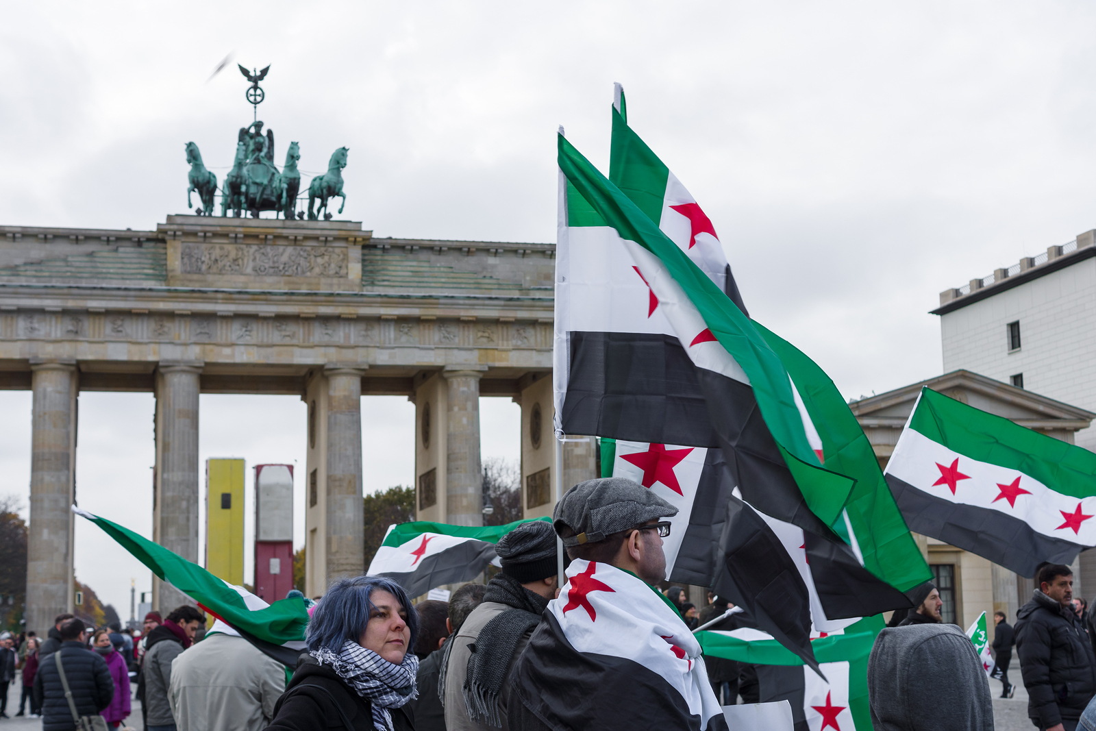 BERLIN - NOVEMBER 12 2017: Protest action of the Syrian opposition near Brandenburg Gate against the Russian Army in Syria.