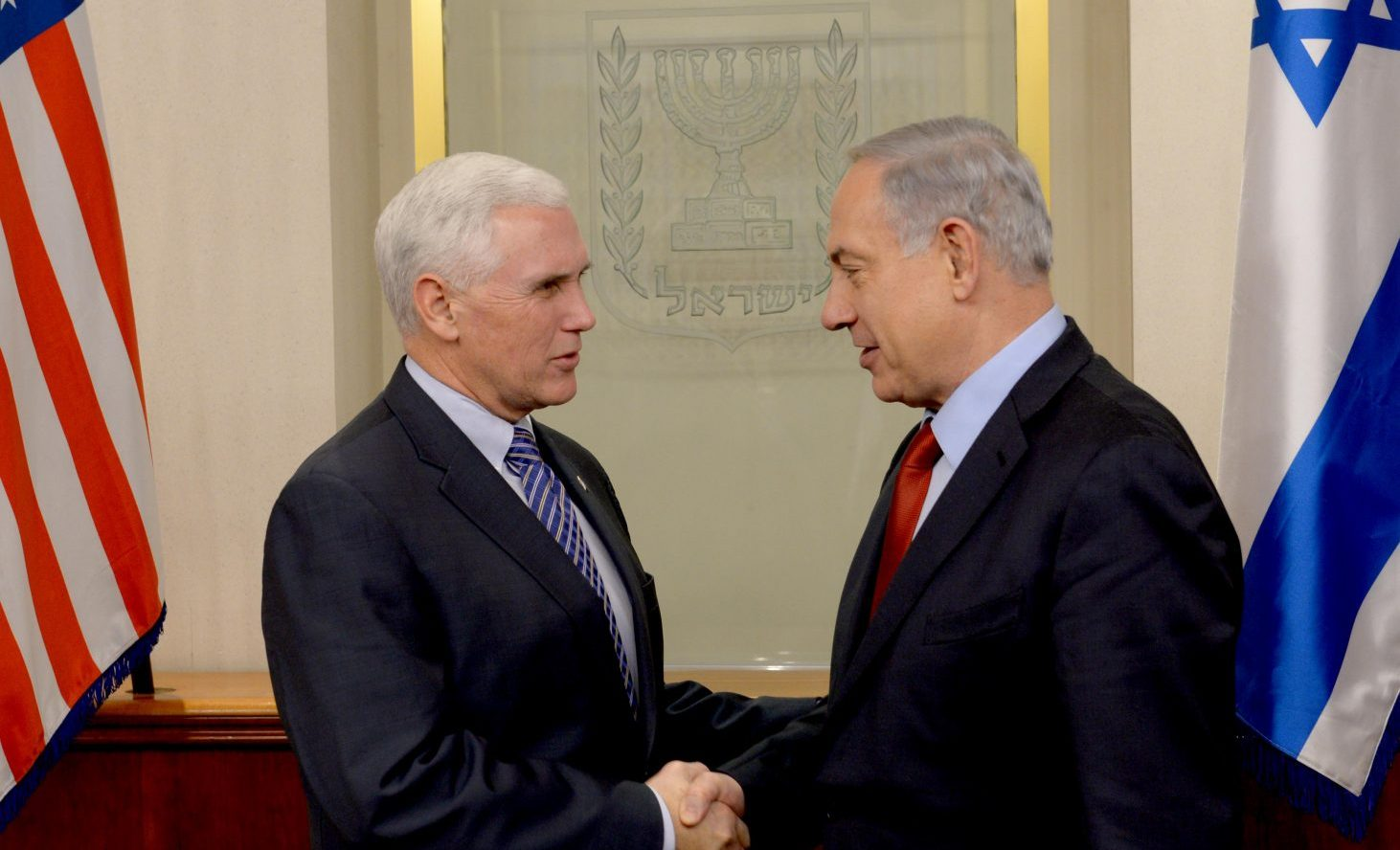 Prime Minister Benjamin Netanyahu meets with Mike Pence at the Prime Minister Offics in Jerusalem.