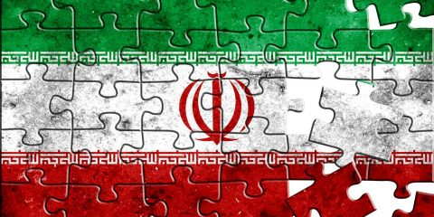 Flag of Iran,realistic puzzle effect.