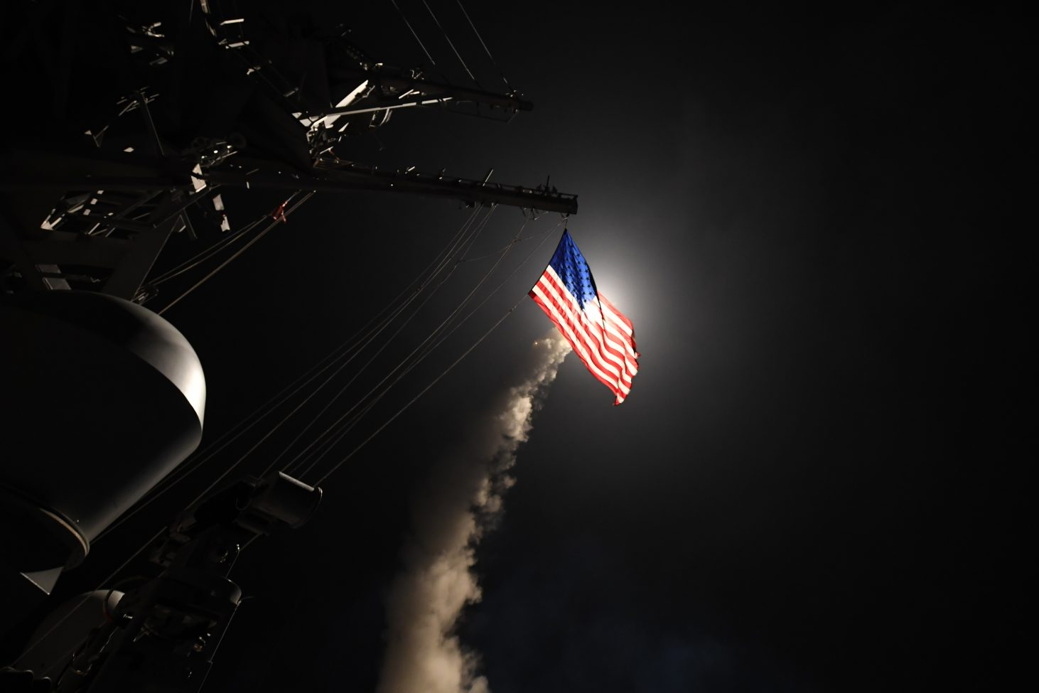 The guided-missile destroyer USS Porter (DDG 78) conducts strike operations against a target in Syria while in the Mediterranean Sea, The Porter conducted naval operations in the U.S. 6th Fleet area of operations in support of U.S. national security interests in Europe. (U.S. Navy photo by Mass Communication Specialist 3rd Class Ford Williams)