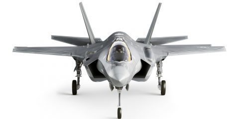 F35 strike aircraft front view isolated on a white background.