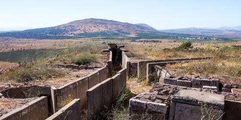 Old abandoned trenches from the time of the Yom Kippur War on the Golan Heights near the border with Syria in Israel