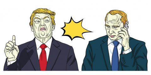 Donald Trump and Vladimir Putin. Vector Portrait Illustration. October 17, 2017