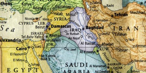colored map of Syria, Iraq, and surrounding middle east