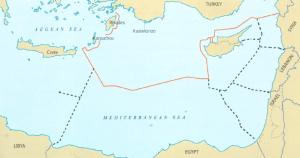 מפה 4: המים הכלכליים / המדף היבשתי הפוטנציאלי של תורכיה במזרח הים התיכון על פי עקרון השוויון שתורכיה מציעה. מקור: Prio Cyprus Centre (2013)