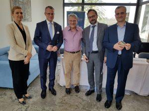 Panelists (pictured from l. to r.): JISS fellow Micky Aharonson, Polish ambassador Marek Magierowski, JISS president Prof. Efraim Inbar, EU ambassador Emanuele Giaufret, and JISS fellow Dr. Emmanuel Navon.