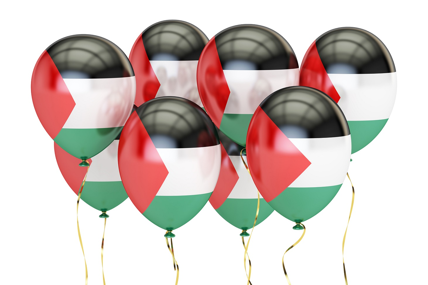 Balloons with flag of Palestine