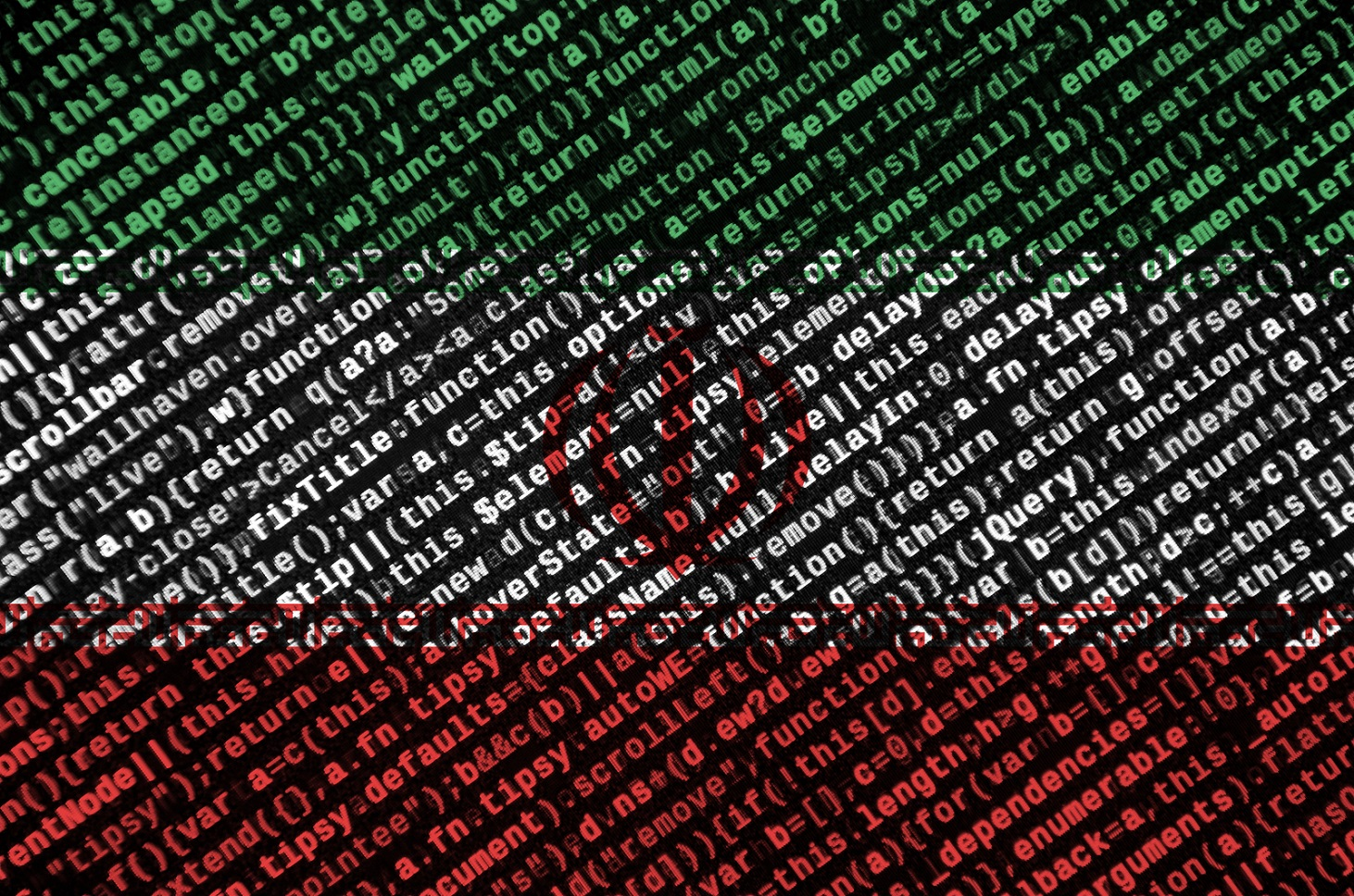 Iran flag is depicted on the screen with the program code.