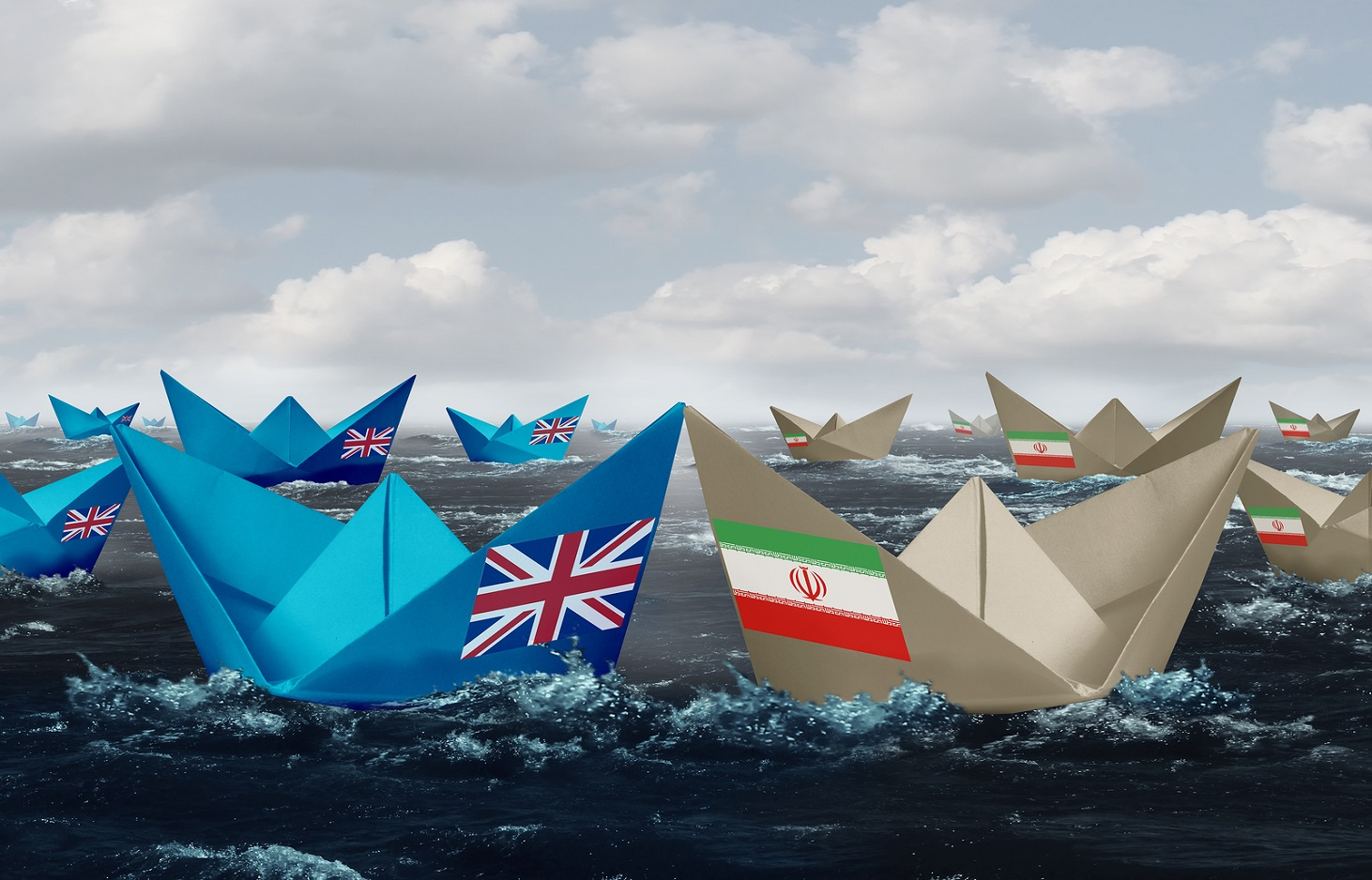 United Kingdom and Iran confrontation in the Persian gulf as a crisis in the middle east as Great Britain versus the Iranian government as paper boats representing shipping lane risk in a 3D illustration style.