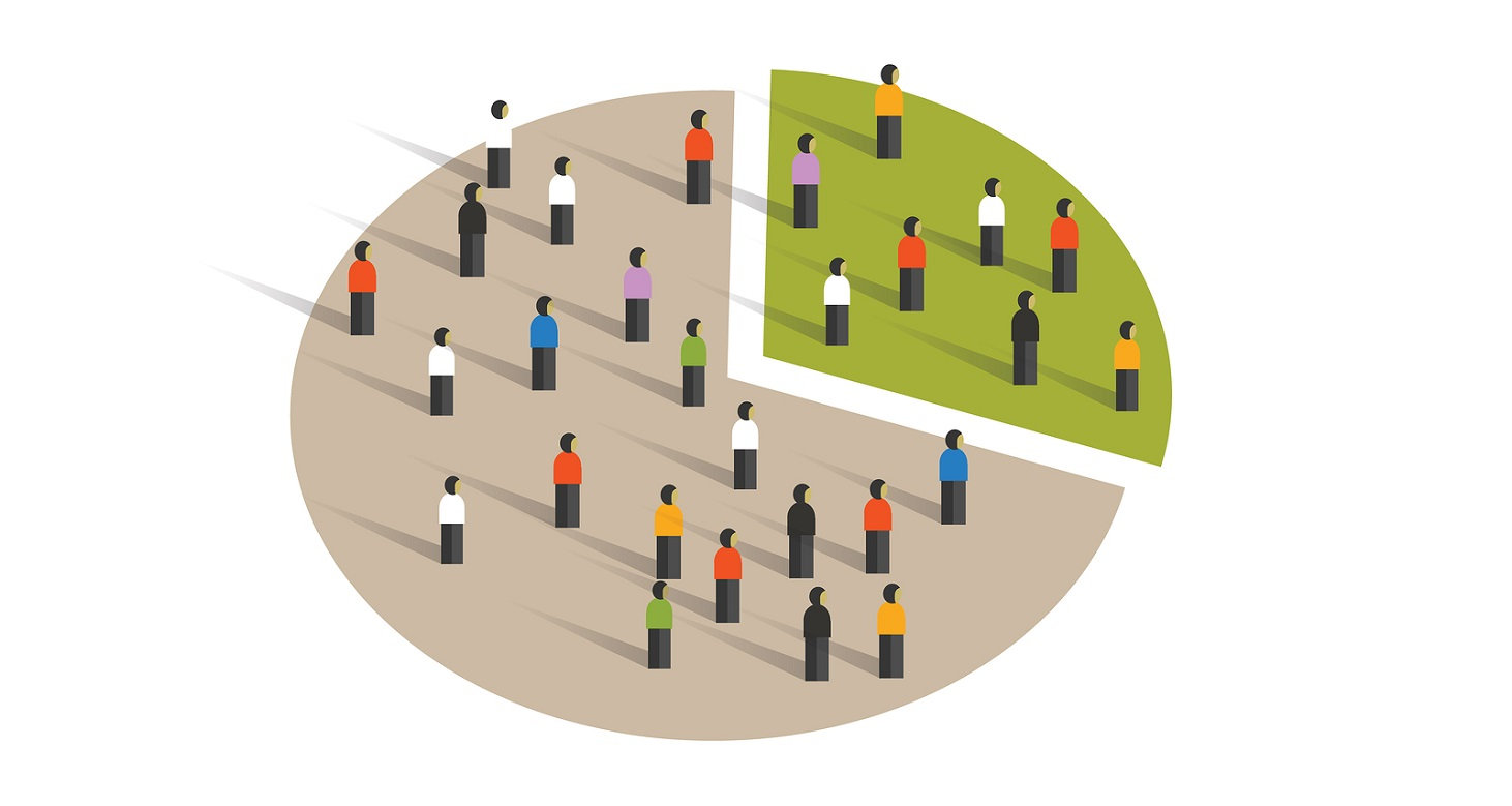 people crowd pie chart group graphic sampling statistics vector