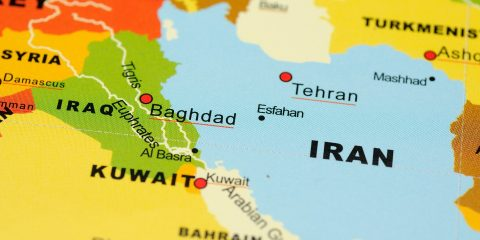 Close up of Iran and Irag on map