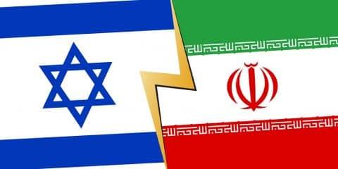 Israel Iran financial, diplomatic crisis concept. vector illustration.