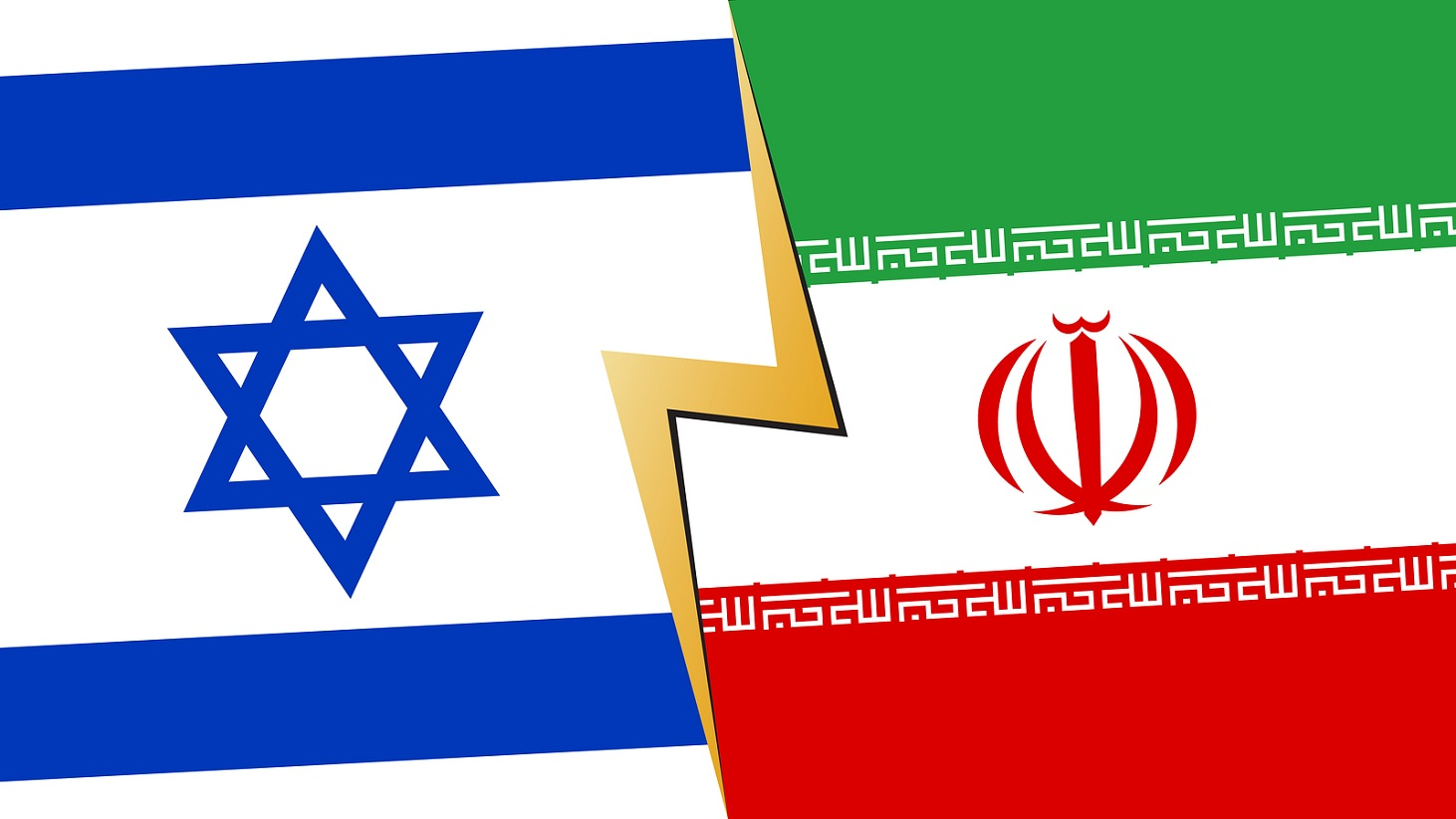 Israel Iran financial, diplomatic crisis concept. vector illustration.