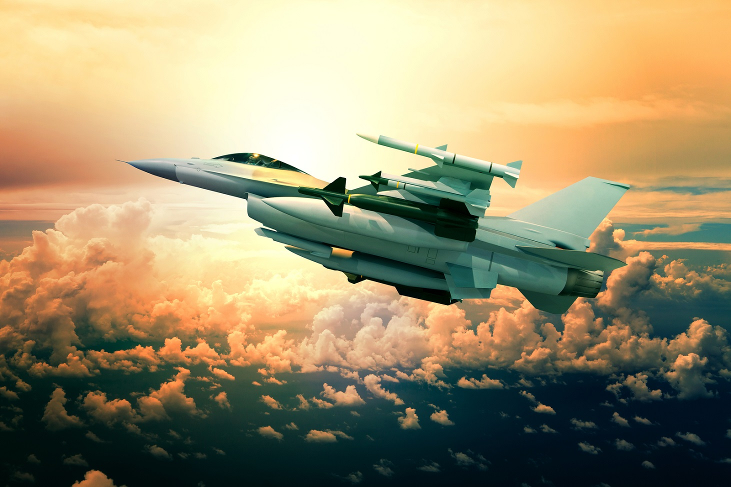 military jet plane with missile weapon flying against sunset sky use for world battle and political conflict in middle east