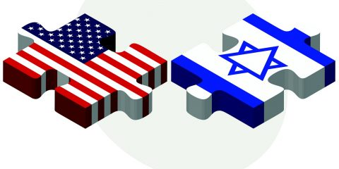 Vector Image - USA and Israel Flags in puzzle isolated on white background.