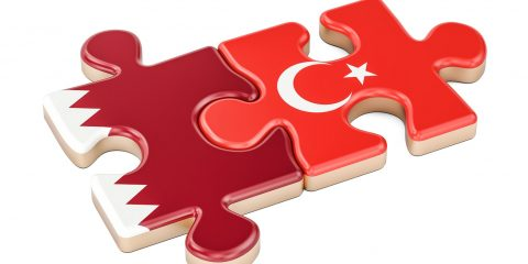 Qatar and Turkey puzzles from flags 3D rendering isolated on white background