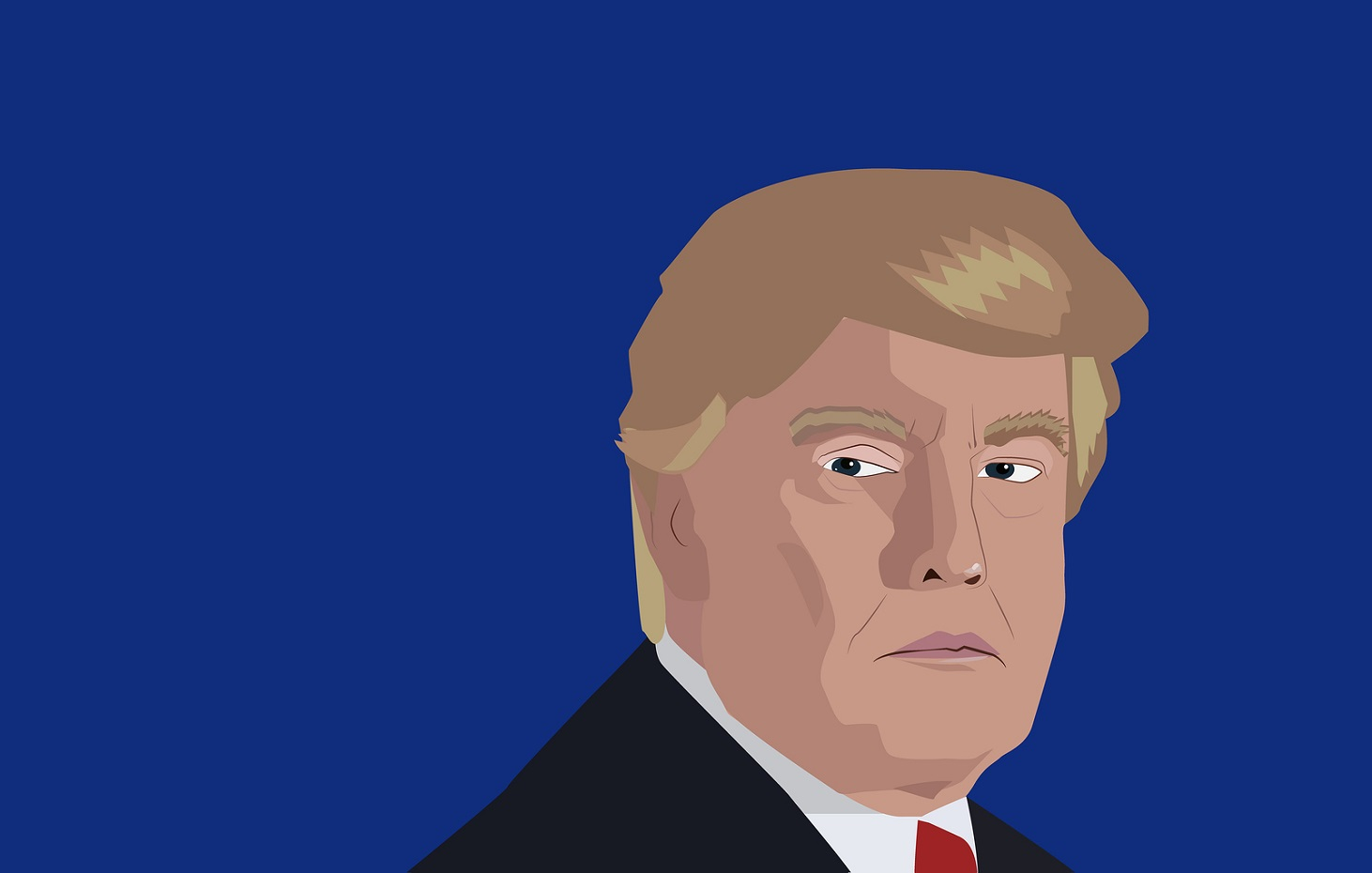 Dec, 2017: Donald Trump portrait on a blue background. Vector illustration of the President of United States Donald Trump