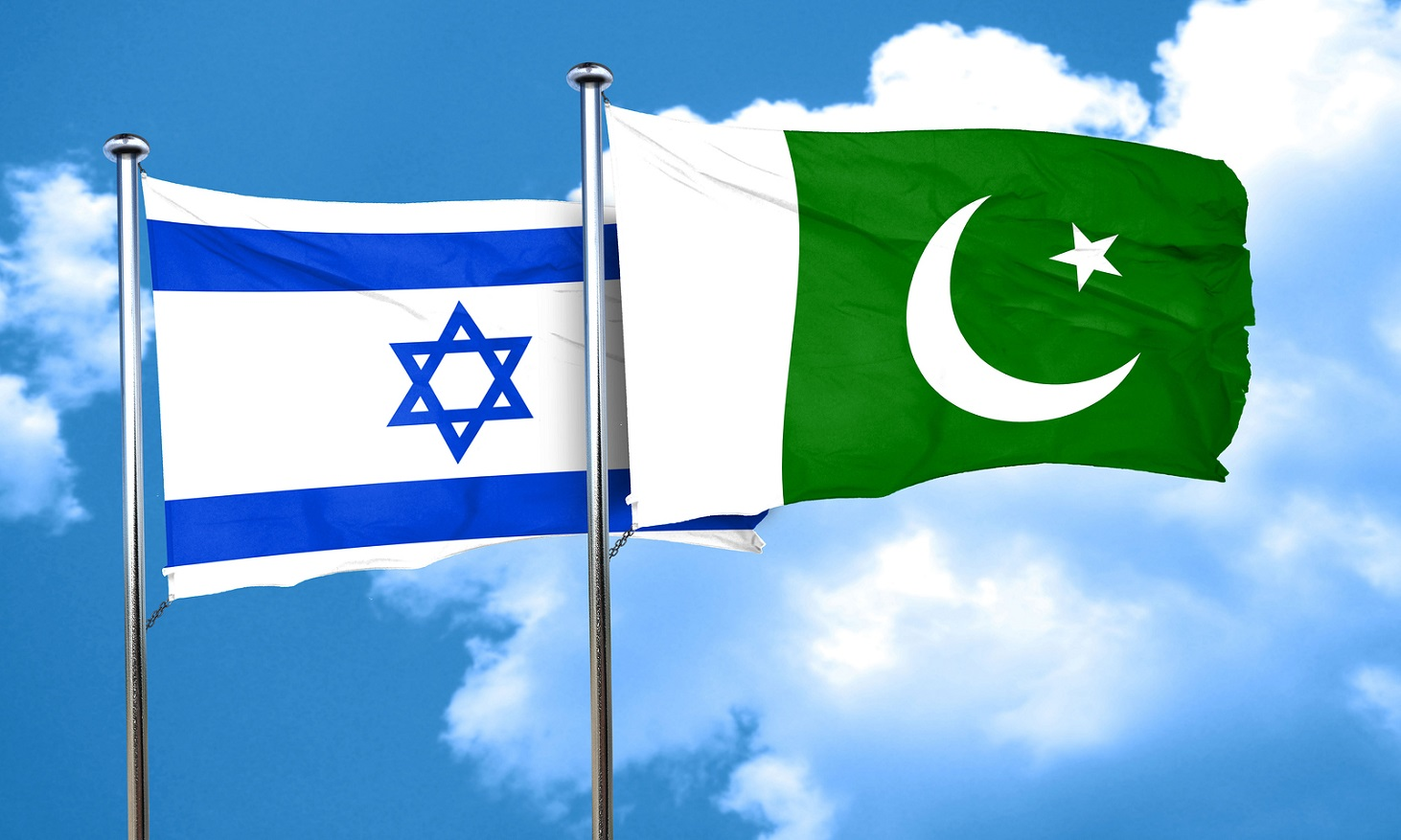 Israel flag with Pakistan flag, 3D rendering