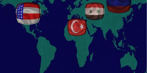 flags of Russia, Syria, United States, Turkey on world map