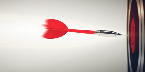 3D Rendering Dart launched with big speed toward the target. Business competition concept