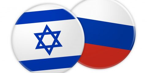News Concept: Israel Flag Button On Russia Flag Button 3d illustration on white background