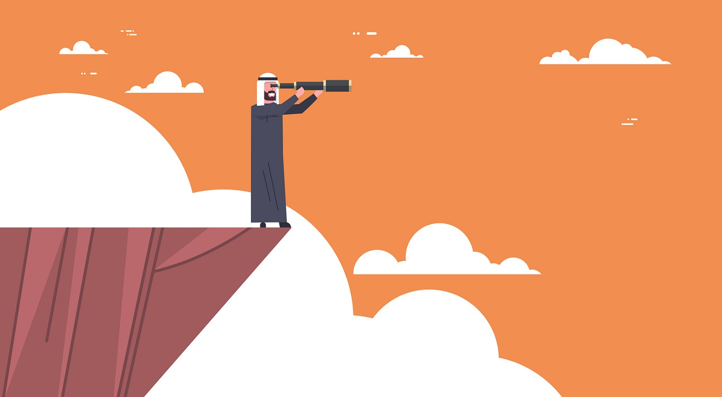 Arab Businessman Stand On Top Of Mountain With Telescope Looking For Success, Opportunities, Business Vision Concept Flat Vector Illustration