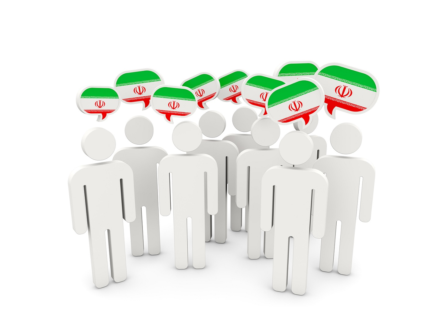 People with flag of iran isolated on white. 3D illustration