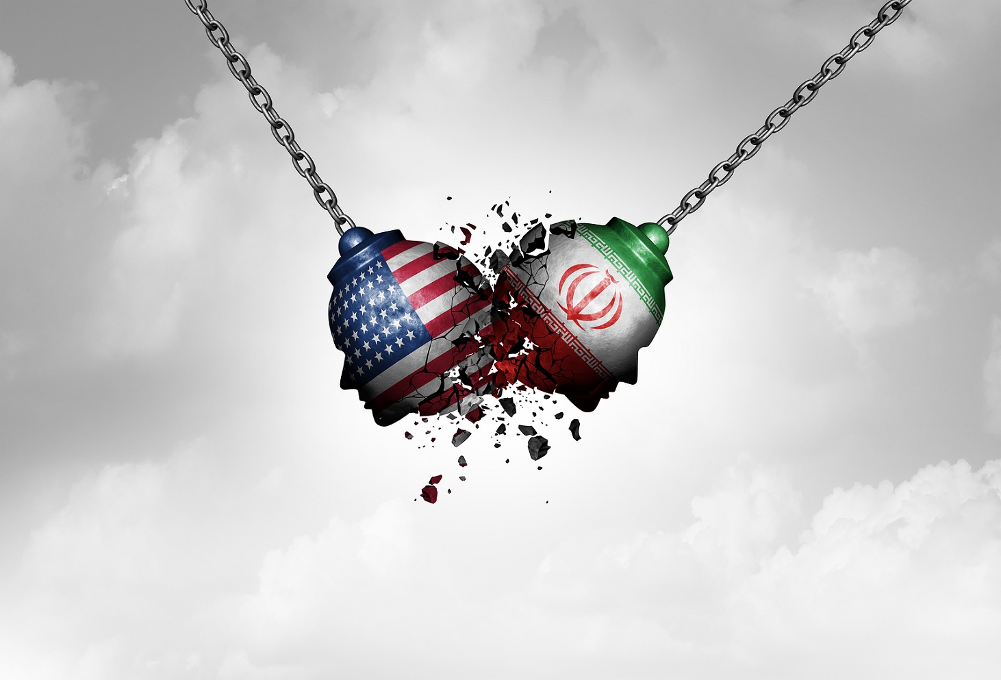 Iran US middle east clash as a USA or United States crisis in the Persian gulf concept as an American and Iranian security problem due to economic sanctions and nuclear deal dispute in a 3D illustration style.