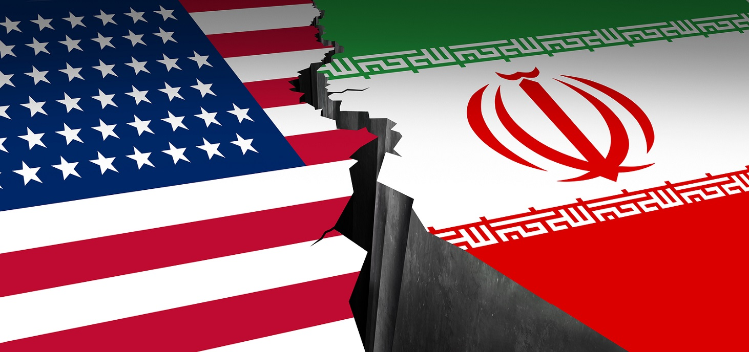 Iran US showdown and middle east clash as a USA or United States crisis in the Persian gulf concept as an American and Iranian security problem due to economic sanctions and nuclear deal as a 3D illustration.