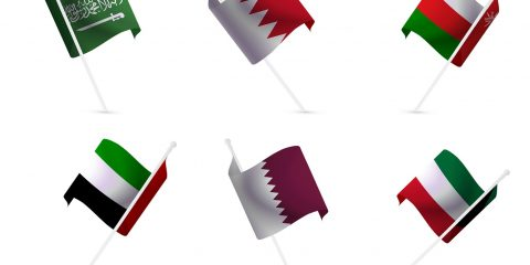 National flags of the Gulf States: Saudi Arabia, Qatar, Oman, Kuwait, UAE,Bahrain