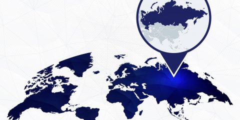 Russia detailed map highlighted on blue rounded World Map. Map of Russia in circle.