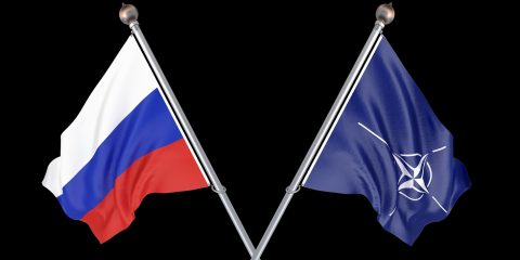 Russia vs Nato. Thick colored silky flags of Russia and Ukraine. 3D illustration on black background. - 3d Illustration.