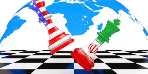 US America and Iran Kings Chess Fighting over a Chess Board on a white background. 3d Rendering
