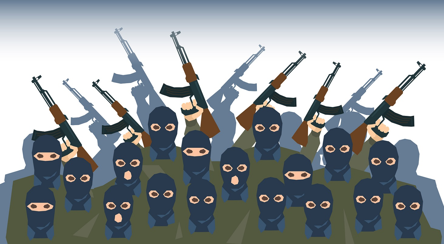 Armed Terrorist Group Terrorism People Crowd Vector Illustration