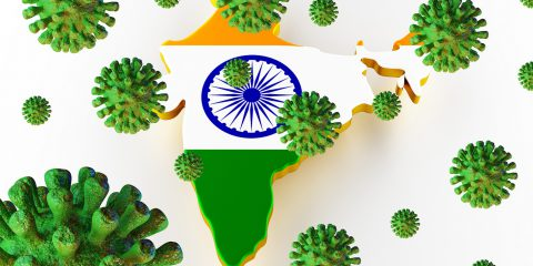 Contagious Hiv Aids, Flur Or Coronavirus With India Map. Coronav