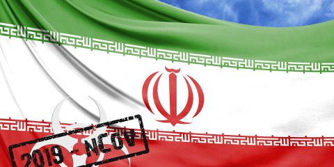 Novel Coronavirus Disease Named 2019-ncov With Iran Flag Closeup