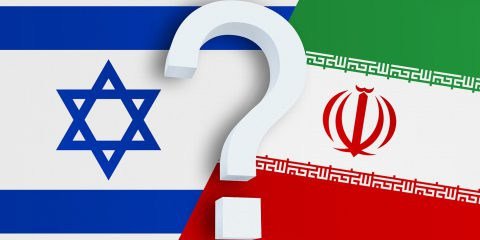 Relationship Between The Israel And The Iran. Two Flags Of Count