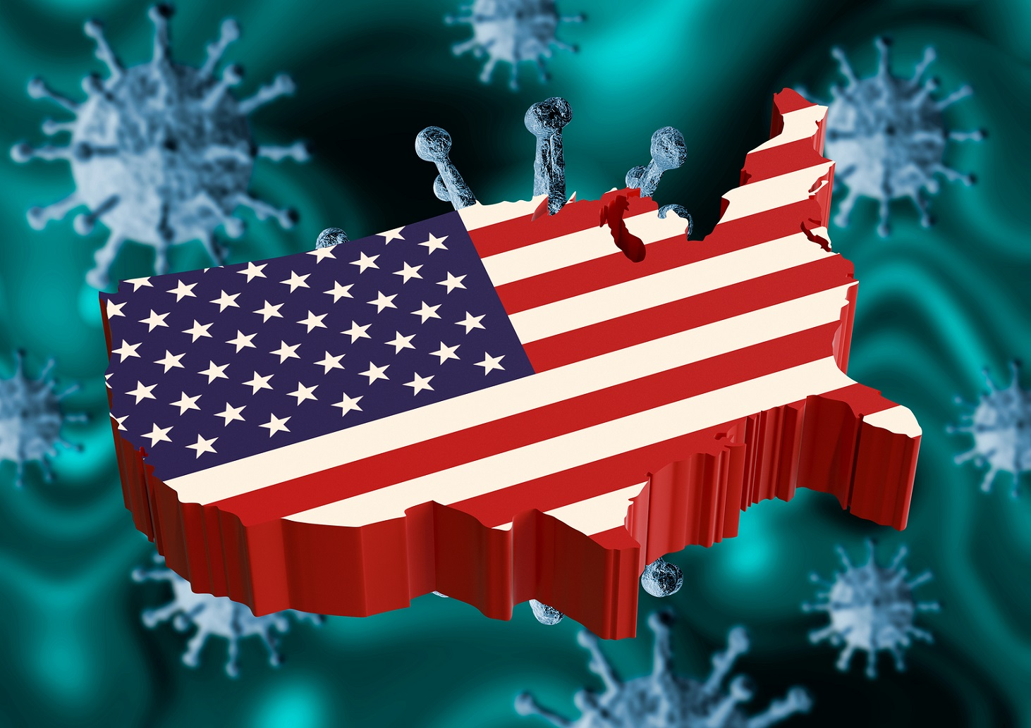Coronavirus And Usa Flag, A Virus Pandemic Started In The Chines