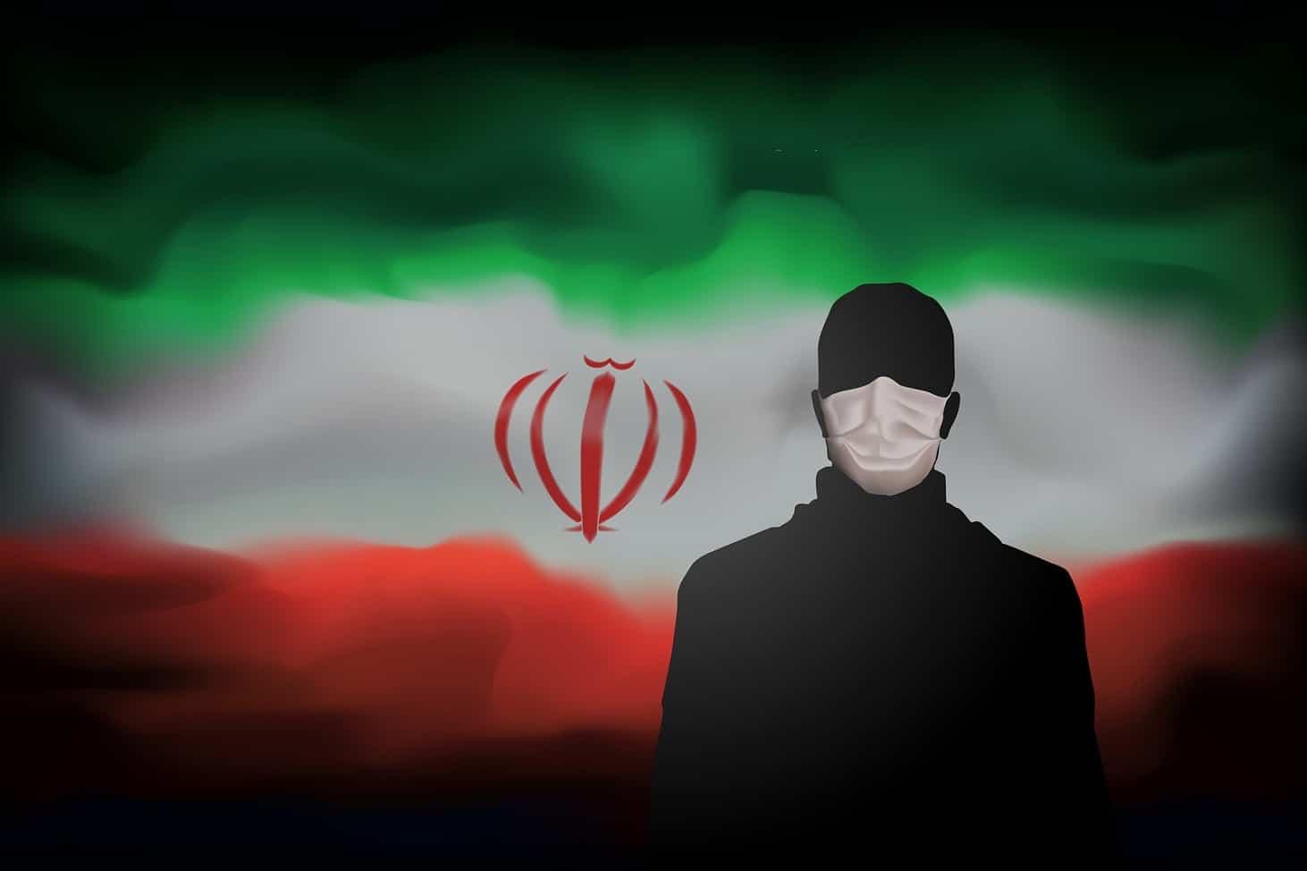 Covid-19 Coronavirus Epidemic In Iran. Silhouette Of Man In Medi