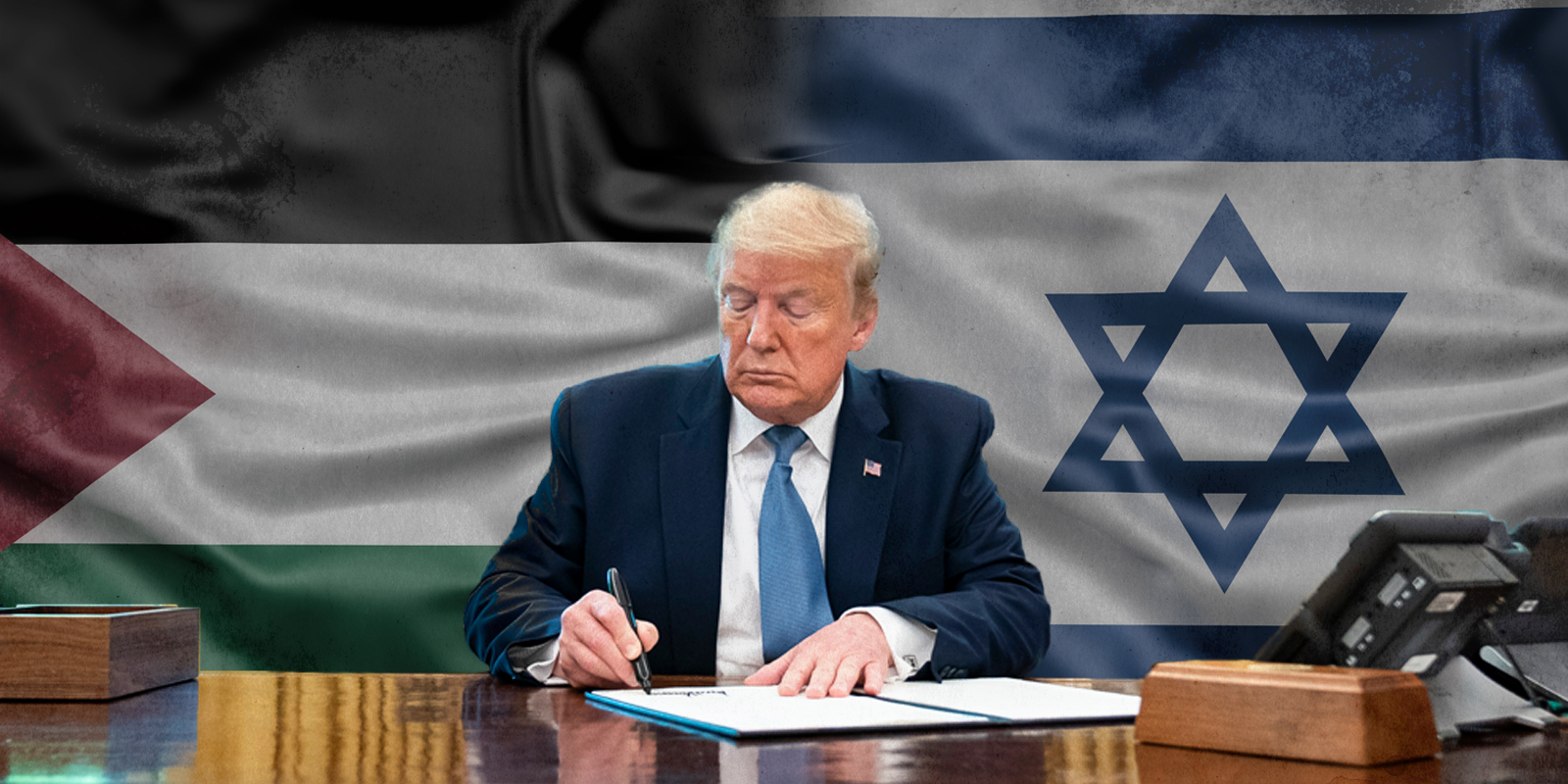 Trump With Israel and Palestine flag