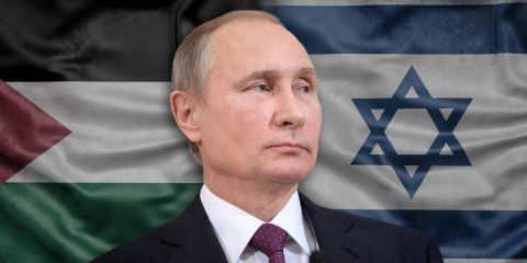 פוטין - דגלי ישראל ופלסטין