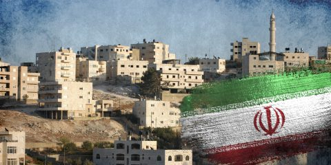 Iran flag on west bank background