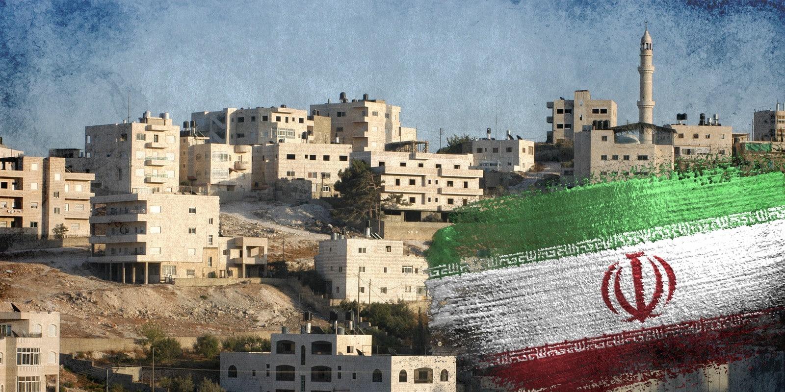 Iran flag on west bank background