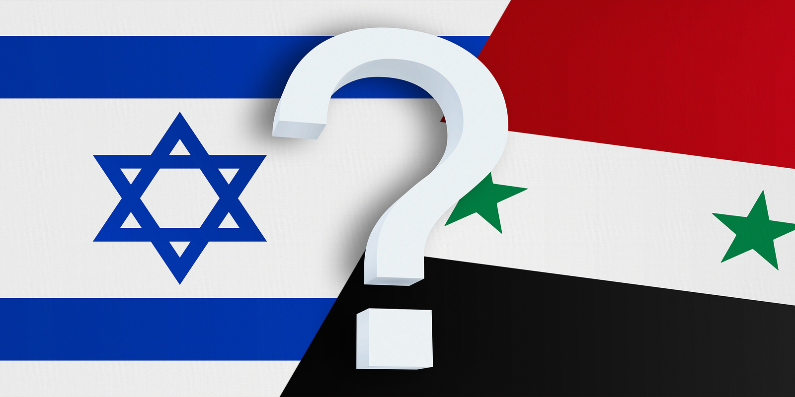Relationship between the Israel and the Syria. Two flags of countries on background. 3D rendered illustration.