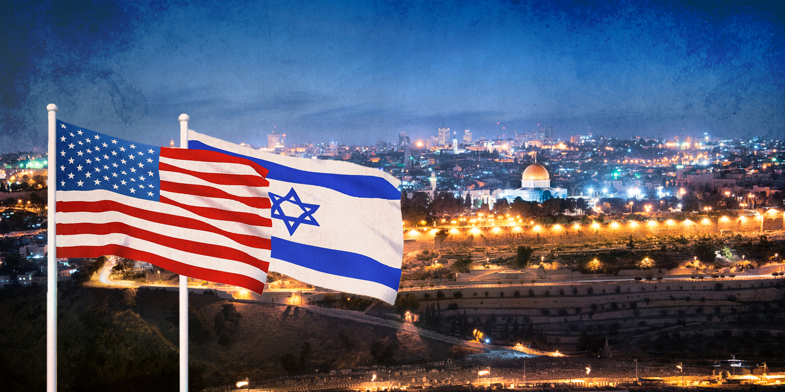 usa and israel flags in jerusalem