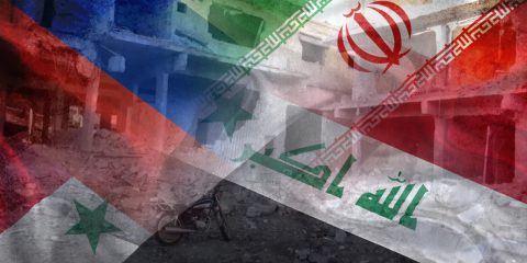 syria, russia, iran flags and deraa